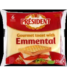 Президент топено сирење во форма на ливчиња - Тост 120 г